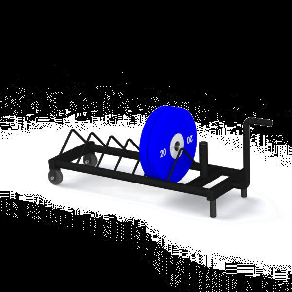Bumper Plate Trolley mit Hantelscheibe